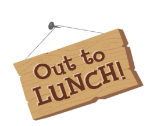 image of out to lunch sign